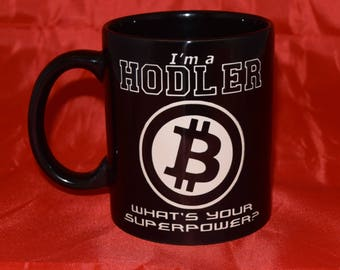 Bitcoin Themed / Cryptocurrency / HODL / Blockchain /  Crypto - Hand Etched Coffee Mug - Black 11oz