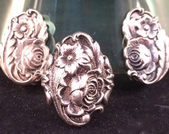 S Kirk & Sons Sterling Silver Repousse Clip-on Earring and Ring Set