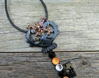 Halloween Themed Skeleton Key Pendant With Glitter Skull And Cross Bones, Black And Orange Crystal Accents, Inscribed With Go Away
