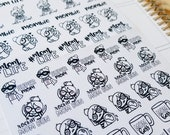Cora - Mom Life/ Mombie | mid size monochrome character / action | Planner stickers
