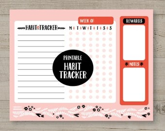 Habit Tracker, Health Tracker, Printable Planner, Health Journal, Weekly Organiser, Weekly Planner, Healthy Habits