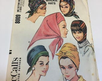 Vtg 60's Hat Pattern McCalls 8009 Beehive Wrap Turban Pleated Hood Helmet Scarf Babooshka Millinery Headscarf Vintage Seweing Pattern