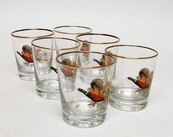 Vintage Pheasant Whiskey Glasses