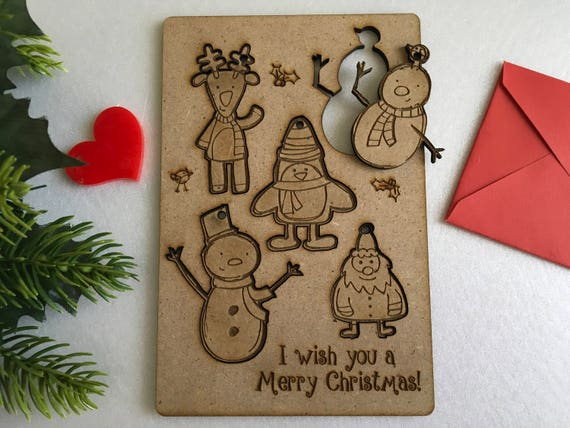 Personalized Christmas Greeting Kids Cards Laser cut Wooden Greeting Cards Christmas Greeting Card Xmas figurines ornament Christmas puzzle