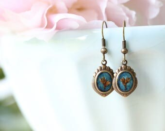Small Dried-Flower Earrings, Nature Jewelry, Pressed flowers, Resin Earrings, Blue earrings