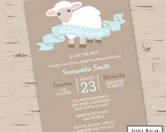 Cute Lamb Baby Shower Boy Shower Blue and Brown Printable Digital Invitation DIY LL02