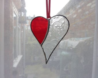 Stiand glass heart suncatcher,Red and clear heart,Heart suncatcher,