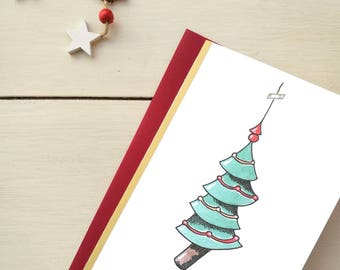 Christmas card, greeting card, personalized ticket, watercolor, Christmas card-tree #1