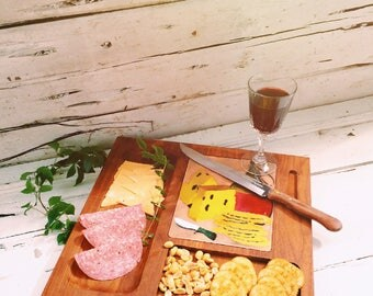 Cheese Board Serving Tray Wooden Cheese Platter 60's