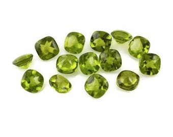 Faceted peridot cushion cut 25 pcs lot Natural green peridot cushion cut faceted loose gemstone for jewelry