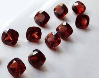 Red Garnet cushion cut 25 pcs lot Natural Garnet cushion cut faceted loose gemstone for jewelry