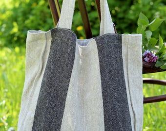 Big Market Bag, Shopping Linen Bag, Natural Linen, Washed Linen, Shoulder Bag, Weekender Beach Bag, Large Bag, Linen Tote Bag, Reusable Bag