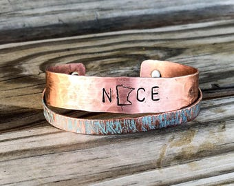Personalized Copper Cuff, Custom State Bracelet, MN Gifts for Her, Personalized Jewelry Gifts for her, Minnesota Bracelet, Copper For Her