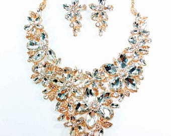 Wedding & Bridal - Gold Statement Bridal Necklace and Earring Set