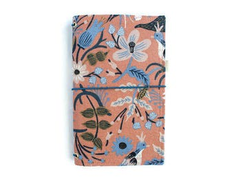 Floral Fauxdori Cover Rifle Paper Co Gifts for Her Fabric Midori Gifts for Grads Gifts for Travelers Fabric Fauxdori Travelers Notebook