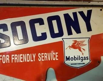 Socony Mobil Gas porcelain sign old and rare