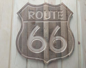 Carved Rustic RT66 Sign, Carved RT66 Sign, RT66 Sign