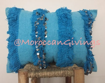 Moroccan Wedding Blanket Cushion, Handira Cushion/Pillow Cover /ONLY COVER