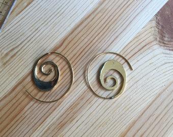 Brass Earring, Hoop Earring, Tribal Earring, Vintage Earring ,Gypsy Earring,Fake gauge Earring, Metal Earring, Indian Earring