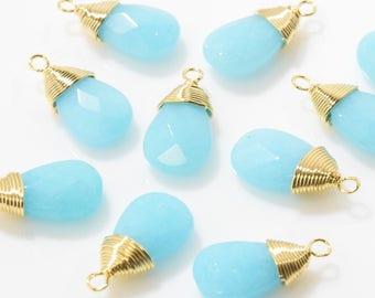 Ocean Blue Jade Teardrop Pendant . Cutting Jade Charm . Tiny Jade Beads . 16K Polished Gold Plated over Brass - 2pcs / NB0001-PGOB