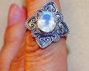Rainbow Moonstone  & 925 Sterling Silver Ring size 7.75 by Silver Trend
