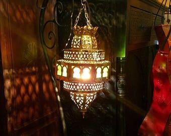 handmade moroccan lantern gold finnish multicolor glass brass lamp amber and green