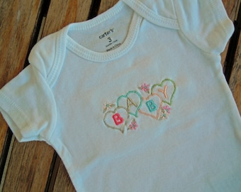 Baby Girl Bodysuit with Embroidered Hearts and Flowers, Baby Girl Onesie with Hearts, Infant Bodysuit, Newborn Girl Embroidered Bodysuit