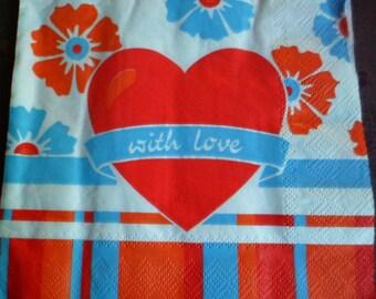 4 heart paper napkins, paper napkin love