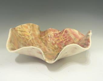 Medium Leaf Pattern Glazed Salad Bowl or Pasta Bowl - Pottery Bowl - Handmade Salad Bowl - Stoneware Salad Bowl