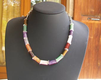Necklace natural stone and Silver 925 tubes
