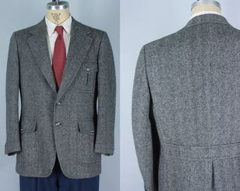 Vintage 1930s-style Men's Sport Coat | Black & White Herringbone Tweed Belted Back Jacket | Size 43