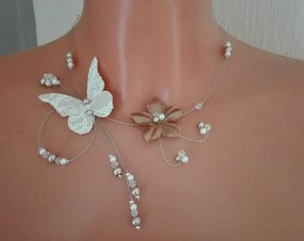 Butterfly burlap /dentelle necklace white pearls / cappuccino/Brown