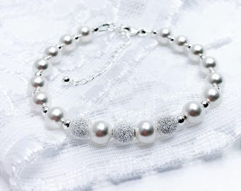 White Swarovski Crystal Pearl With Sterling Silver Bracelet Dainty Wedding Bracelet Pretty Bridesmaid Gift Mother of the Bride Bridal Gift