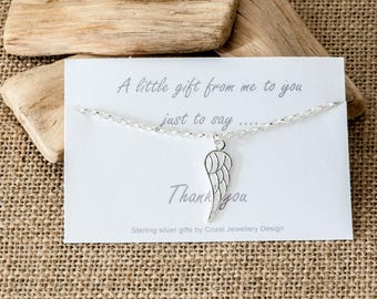 Silver Angel Wing Bracelet with Gift Card | 925 Sterling Silver Jewellery | Personalised Bracelet | Message Card | Gift for Her
