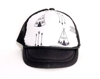 Black and White Teepees Baby Trucker Hat