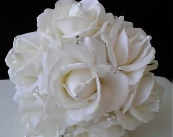 White Bridal Toss bouquet-Toss Bouquet-Wedding Bouquet-Silk Flower Wedding Bouquet
