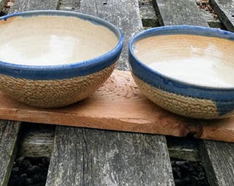 Wattlefield Pottery Bowls Set of two.  Handmade by Andrea Young.  Stoneware, blue and beige.