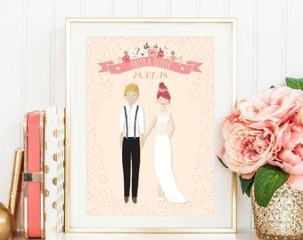 Wedding Present Personalised, Wedding Illustration, Wedding Print, Anniversary Gift, Wedding Gift, Custom Wedding Portrait, Couple Print