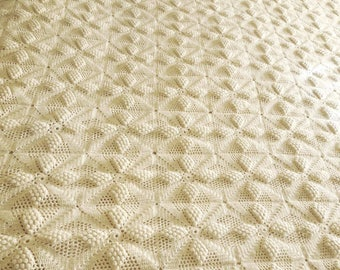 Crochet Bedspread Woven Spread Cover Afghan Big Throw - Cream Knit Full Twin Bed Sized - Vintage Bedding - FREE SHIP