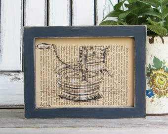 Framed Kitchen Art, Dictionary Print Art, Retro Print, Book Art, Laundry Room Decor, Gift For Home, Kitchen Decor, Country Home Decor