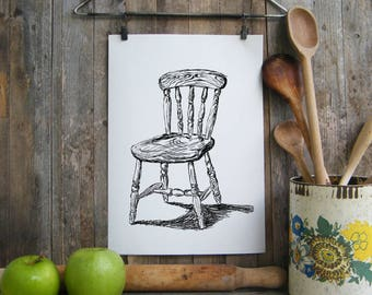 Kitchen Decor, Chair printable, Dorm wall art, Chair art printable, Black and white poster, Kitchen decor, Antique chair, Hostess gift