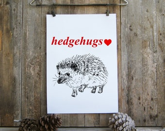 Quote prints - hedgehog, Valentines gift, hedgehugs wall art, Hipster wall decor, Printable art, Quote poster, Black and red, Love