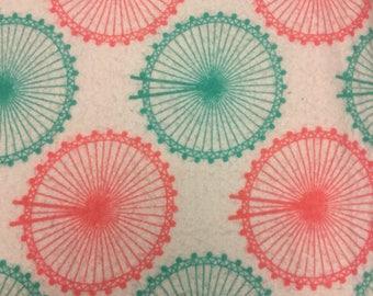 Pink amd turquoise Ferris wheel  pattern flannel