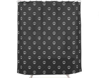 Black Skulls Pattern Shower Curtain