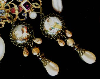 """Earrings medieval """"RIALTO"""", illustrated Cabochons, beads Czech glass, bronze metal"""
