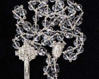 Crystal Quartz Catholic Women's Rosary - Sterling Bali Silver, Miraculous Medal, Ornate Crucifix - Handmade, Heirloom, Custom Rosaries
