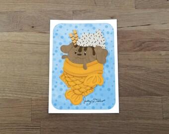 Dog Taiyaki Ice Cream Art Print 5x7, Dog Print, food illustration, cute print, Japanese sweets