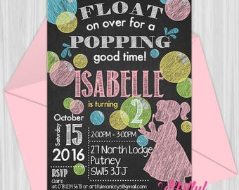 Printable Bubble Party Invitation