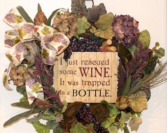 Wine Wreath Wine Wreath With Sign Grapevine Wreath Kitchen Wreath, Indoor Wreath Wine Lover's Wreath Housewarming Gift Wedding Gift