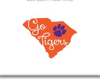 Clemson - Go Tigers South Carolina Graphic - Digital Download - SVG file - Cut Files - Tiger SVG - Tiger Paw - Vector - Cricut - Silhouette
